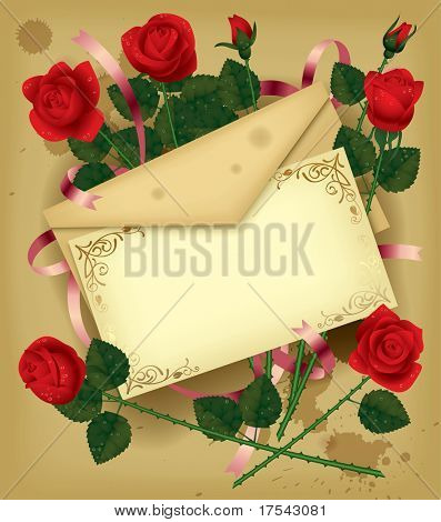 Isolated raster version of vector vintage image of a letter with red roses (contain the Clipping Path of all objects)