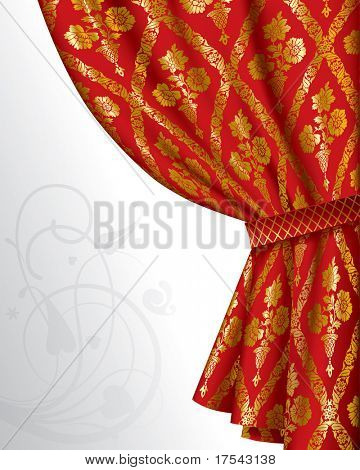 Isolated raster version of vector image of a red drape with gold vintage ornament (contain the Clipping Path)