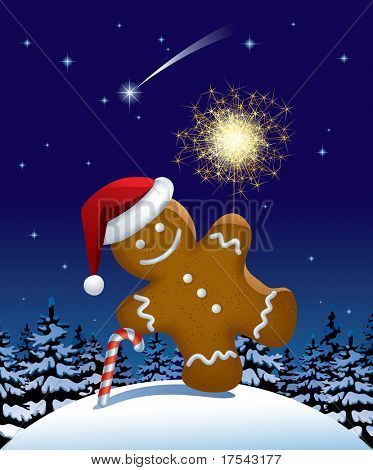 Vector illustration of gingerbread man with a sparkler in winter fir forest in the night