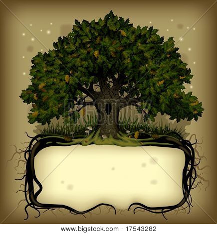 Raster version of old-fashioned banner with fairy-tale rooted oak tree