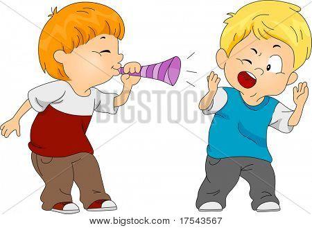 Illustration of a Boy Pulling a Prank on Another Boy