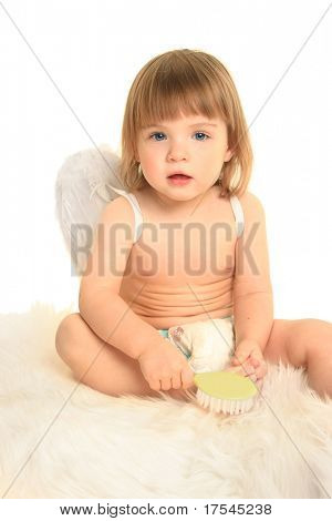 cute little angel on white