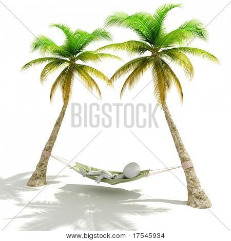 3d man resting, Lying in a  hammock