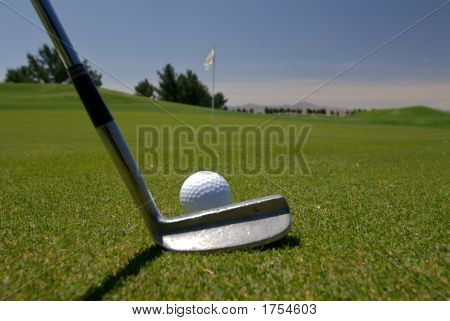 Golf Lining Up A Putt