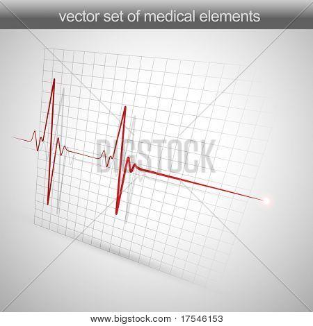 coração bate ilustração vetorial de electrocardiograma