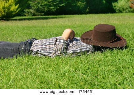 Child Asleep In The Grass