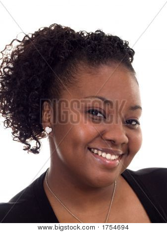 Plump Smiling Young Black Woman Tight Portrait