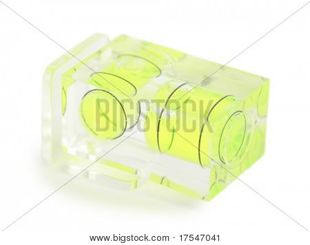 Close-up view of green transparent multilevel for photographic camera isolated on white