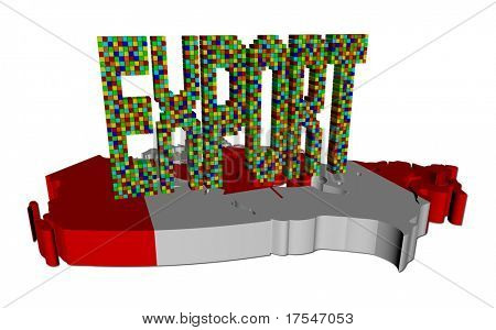 Export text made of containers on Canada map flag illustration
