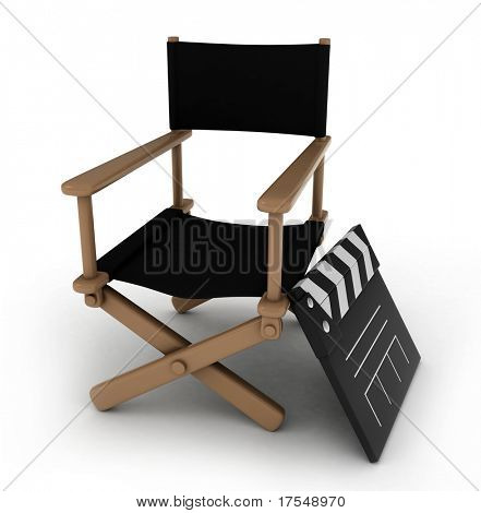 Ilustración 3D de un Director de Cátedra con una claqueta al lado de él