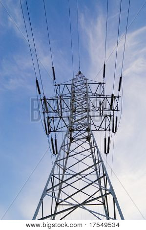 Power pole on blue sky background