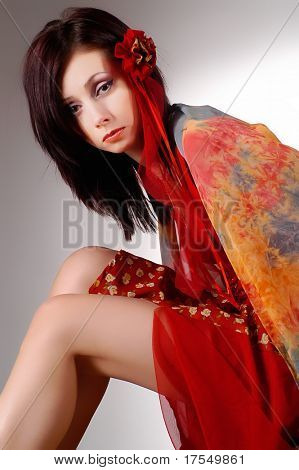 photosession of young pretty woman in eastern clothes