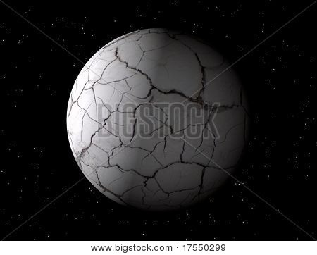3-d globe with cracked dried ground surface