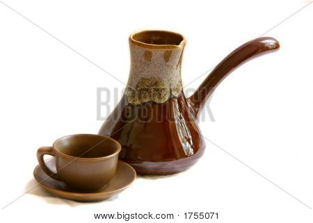 Ceramic Cezve And Coffee Cup