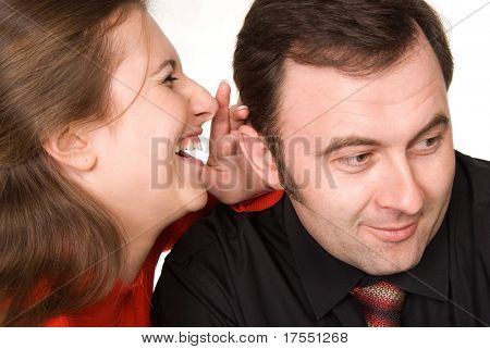 young woman telling something to businessman