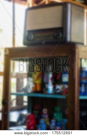 Retro Radio On Wooden Table Showcase stock photo