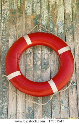lifebuoy  hanged on wooden wall