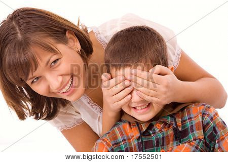 Playful mother and son isolated playing hide-and-seek