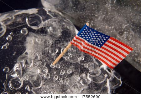 American flag on the clear solid ice background