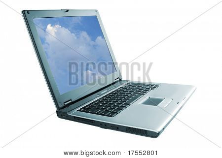 Silver grey laptop over white
