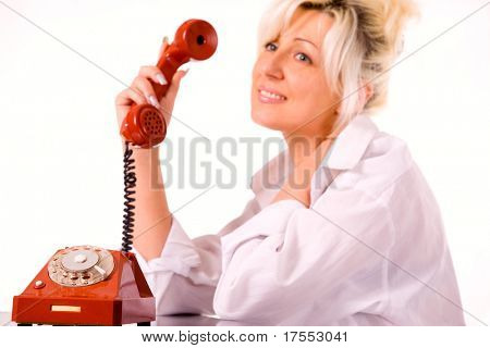 Blond caucasian model with red phone over white