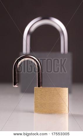 Two metal padlocks with reflection