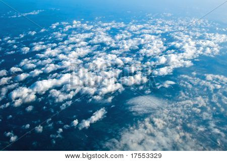 Aerial View Of Peaceful Earth Covered In Clouds