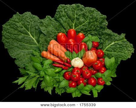 Red And Green Vegetables Still Life On Black Bacground