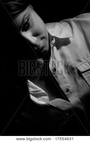 Sensual woman portrait in dark gamma