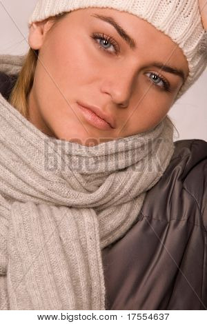 Pretty sportive girl dressed winter clothes