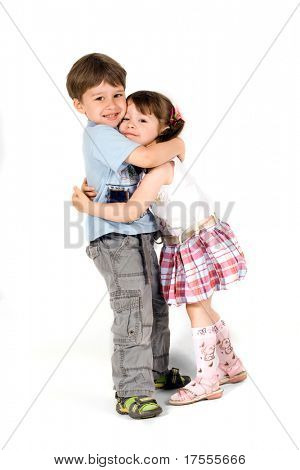 Cheerful little children isolated over white