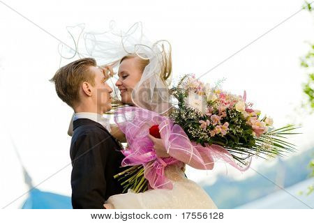 Colorful wedding shot of bride and groom