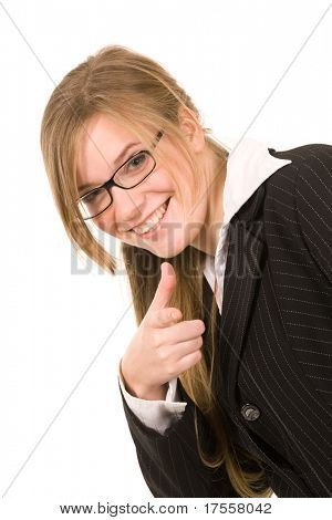 Beautiful businesswoman pointing with finger toward observer
