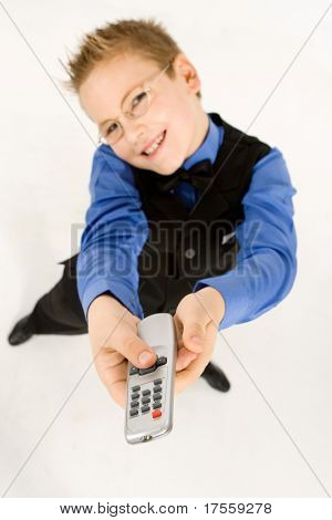 Funny fat boy with tv remote control