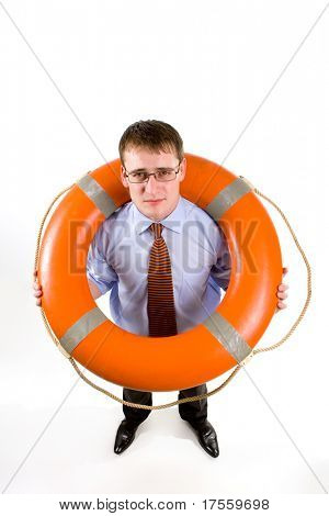 Young handsome businessman holding a life buoy
