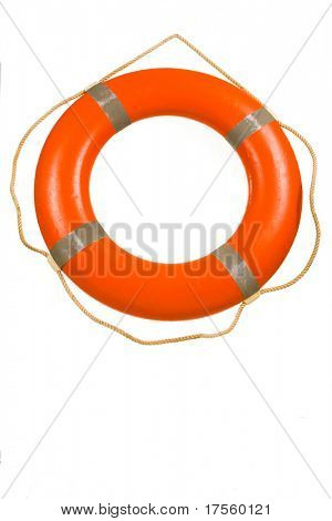 Red life buoy hanging on rope isolated over white