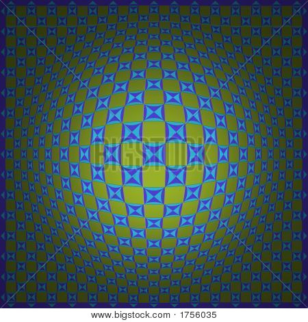 Op Art Homage To Vv Expand One Blue Green