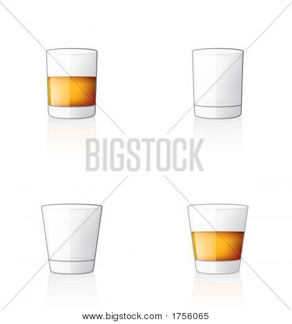 Glass Icon Set 60W, Scotch / Whiskey Glasses