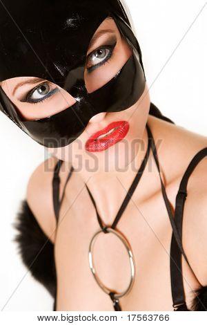 Hot beautiful model in latex cat costume