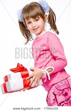 Adorable little girl with white gift box