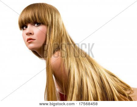 Beautiful blond girl with long hair portrait
