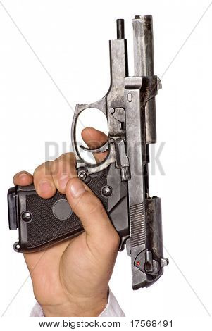 Human hand with gun. Isolated