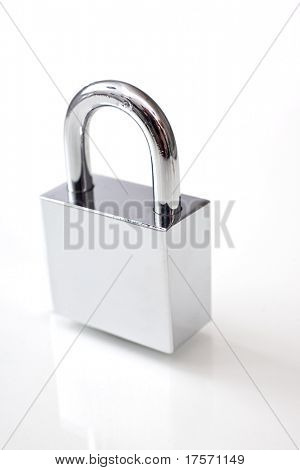 Silver padlock over white with reflection