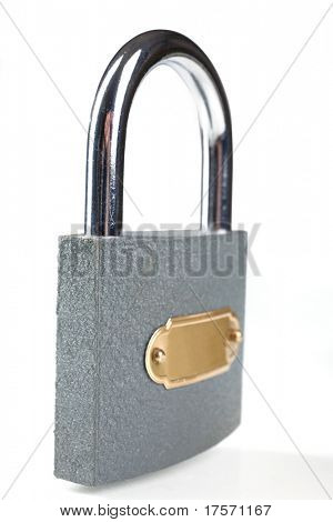 Metal padlock over white background