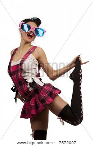 Funny Girl Wearing Large pink Eyeglasses and amusing suit, Shouting Towards the Viewer