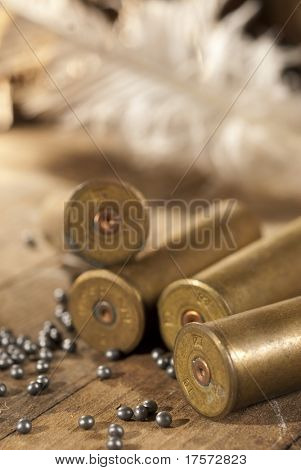 Shotgun shells and shot on wood background