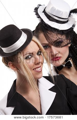 Two attractive cabaret girls smiling