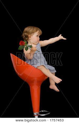 Baby Girl On A Stylish Stool