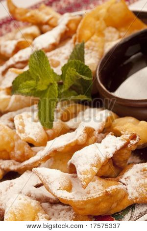 Deep Fried Wonton coated with powdered sugar