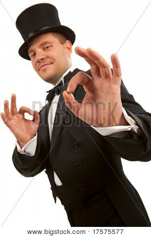 Man with top hat making 'ok' gesture
